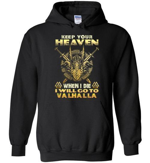 bavipower-viking-jewelry-Keep your heaven-BaViPower-Gildan Heavy Blend Hoodie-Black-S-BaViPower