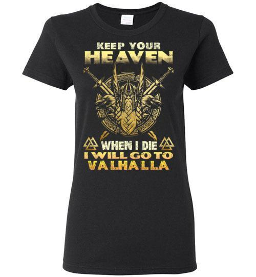 bavipower-viking-jewelry-Keep your heaven-BaViPower-Gildan Ladies Short-Sleeve-Black-S-BaViPower