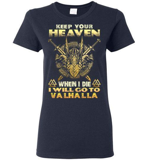 bavipower-viking-jewelry-Keep your heaven-BaViPower-Gildan Ladies Short-Sleeve-Navy-S-BaViPower