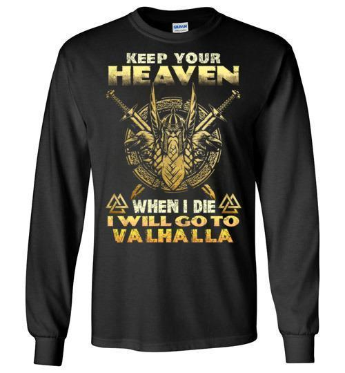 bavipower-viking-jewelry-Keep your heaven-BaViPower-Gildan Long Sleeve T-Shirt-Black-S-BaViPower