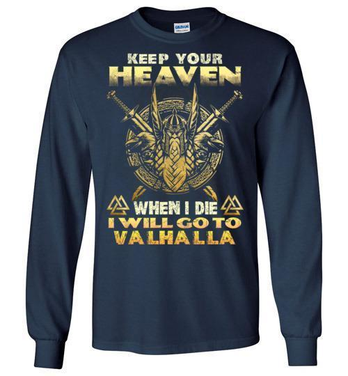bavipower-viking-jewelry-Keep your heaven-BaViPower-Gildan Long Sleeve T-Shirt-Navy-S-BaViPower
