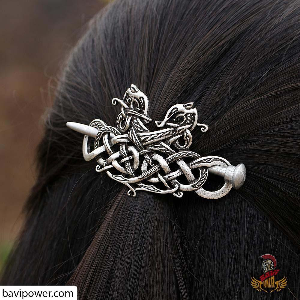 Large Celtics Knot Dragons Hairpin F-06