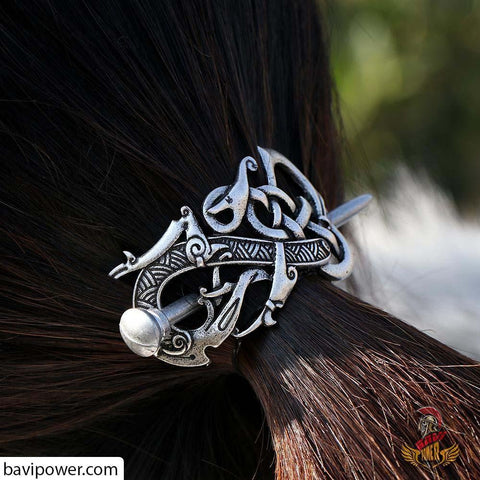 Large Vikings Knot Dragon Hairpins F-02