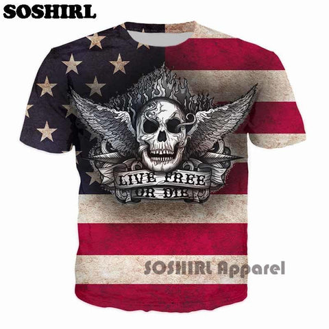 bavipower-viking-jewelry-Live Free Or Die USA Skull 3D T Shirt-3d t-shirt-BaViPower-US XL-BaViPower
