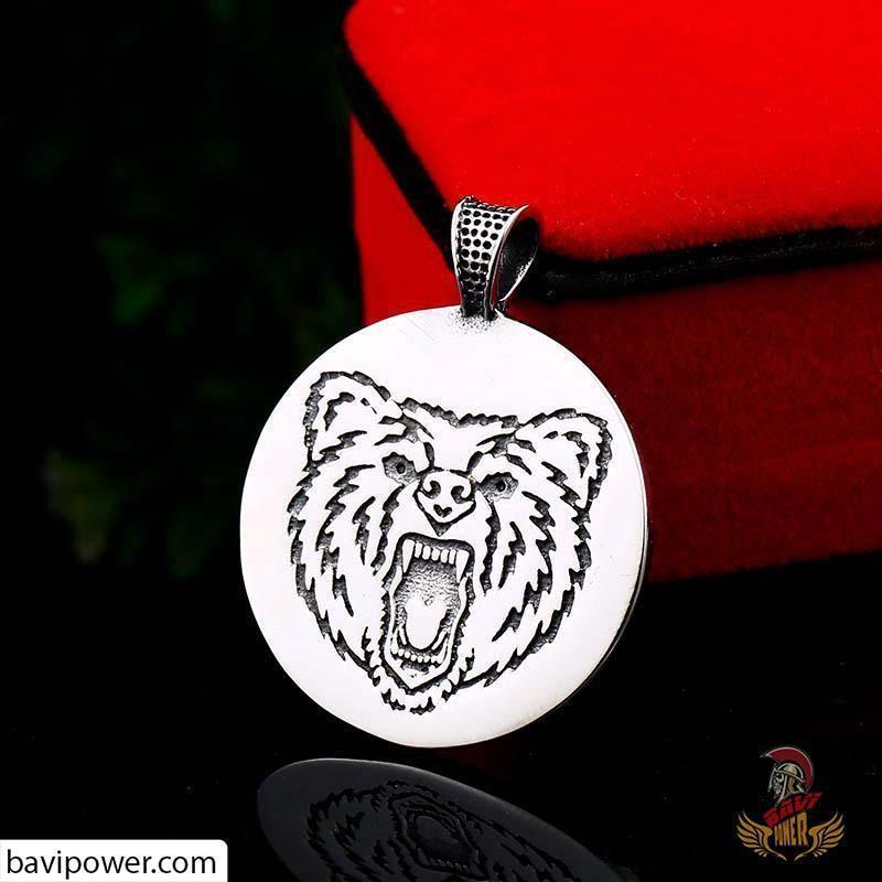 Matte Black Stainless Steel Bear Paw Pendant Necklace