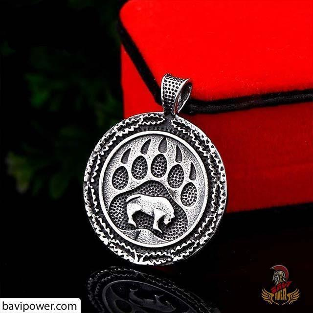 Matte Black Stainless Steel Bear Paw Pendant