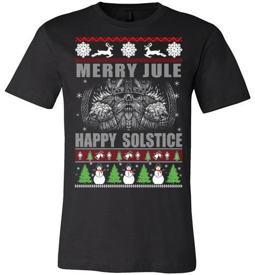 bavipower-viking-jewelry-Merry YULE, Happy Solstice Shirt-BaViPower-Canvas Unisex T-Shirt-Black-S-BaViPower