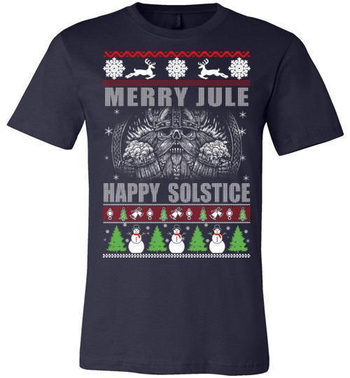 bavipower-viking-jewelry-Merry YULE, Happy Solstice Shirt-BaViPower-Canvas Unisex T-Shirt-Navy-S-BaViPower