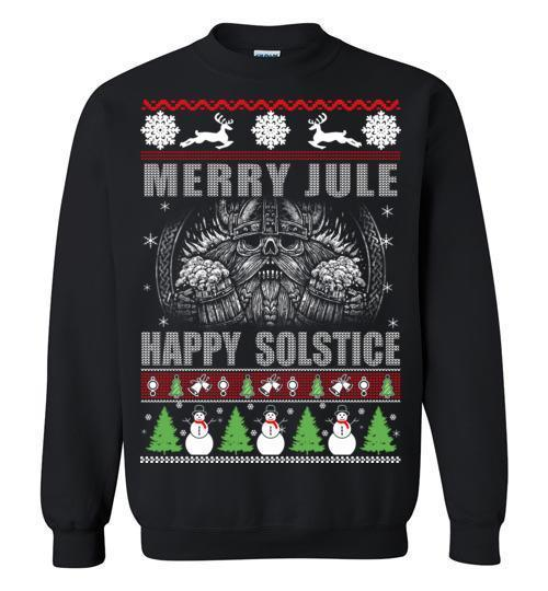 bavipower-viking-jewelry-Merry YULE, Happy Solstice Shirt-BaViPower-Gildan Crewneck Sweatshirt-Black-S-BaViPower