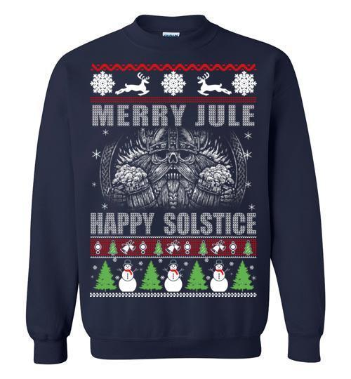 bavipower-viking-jewelry-Merry YULE, Happy Solstice Shirt-BaViPower-Gildan Crewneck Sweatshirt-Navy-S-BaViPower