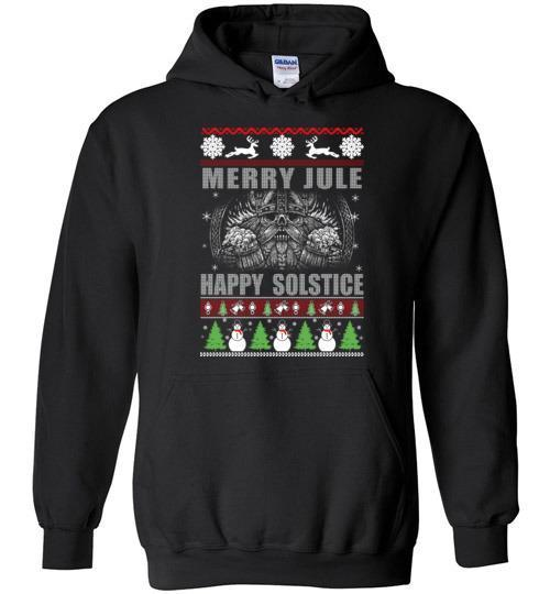bavipower-viking-jewelry-Merry YULE, Happy Solstice Shirt-BaViPower-Gildan Heavy Blend Hoodie-Black-S-BaViPower
