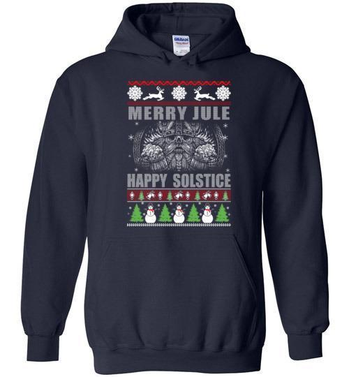 bavipower-viking-jewelry-Merry YULE, Happy Solstice Shirt-BaViPower-Gildan Heavy Blend Hoodie-Navy-S-BaViPower