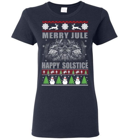 bavipower-viking-jewelry-Merry YULE, Happy Solstice Shirt-BaViPower-Gildan Ladies Short-Sleeve-Navy-S-BaViPower