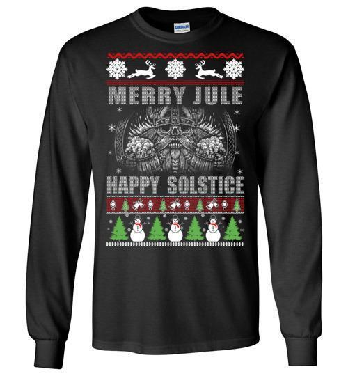 bavipower-viking-jewelry-Merry YULE, Happy Solstice Shirt-BaViPower-Gildan Long Sleeve T-Shirt-Black-S-BaViPower