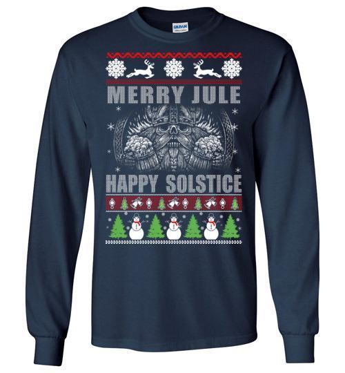 bavipower-viking-jewelry-Merry YULE, Happy Solstice Shirt-BaViPower-Gildan Long Sleeve T-Shirt-Navy-S-BaViPower