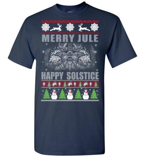 bavipower-viking-jewelry-Merry YULE, Happy Solstice Shirt-BaViPower-Gildan Short-Sleeve T-Shirt-Navy-S-BaViPower