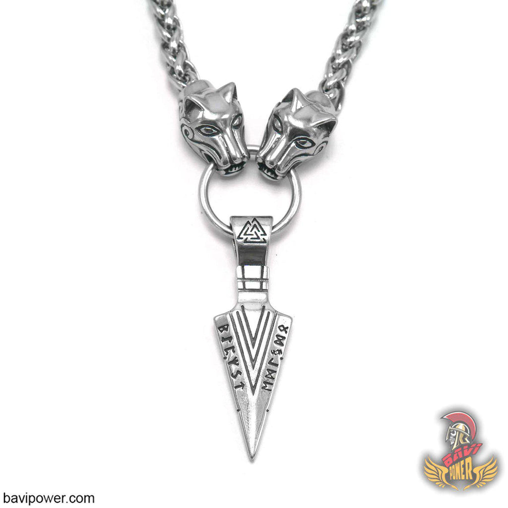 Odin's Gungnir Spear Head Pendant Necklace with Big Wolf Chain