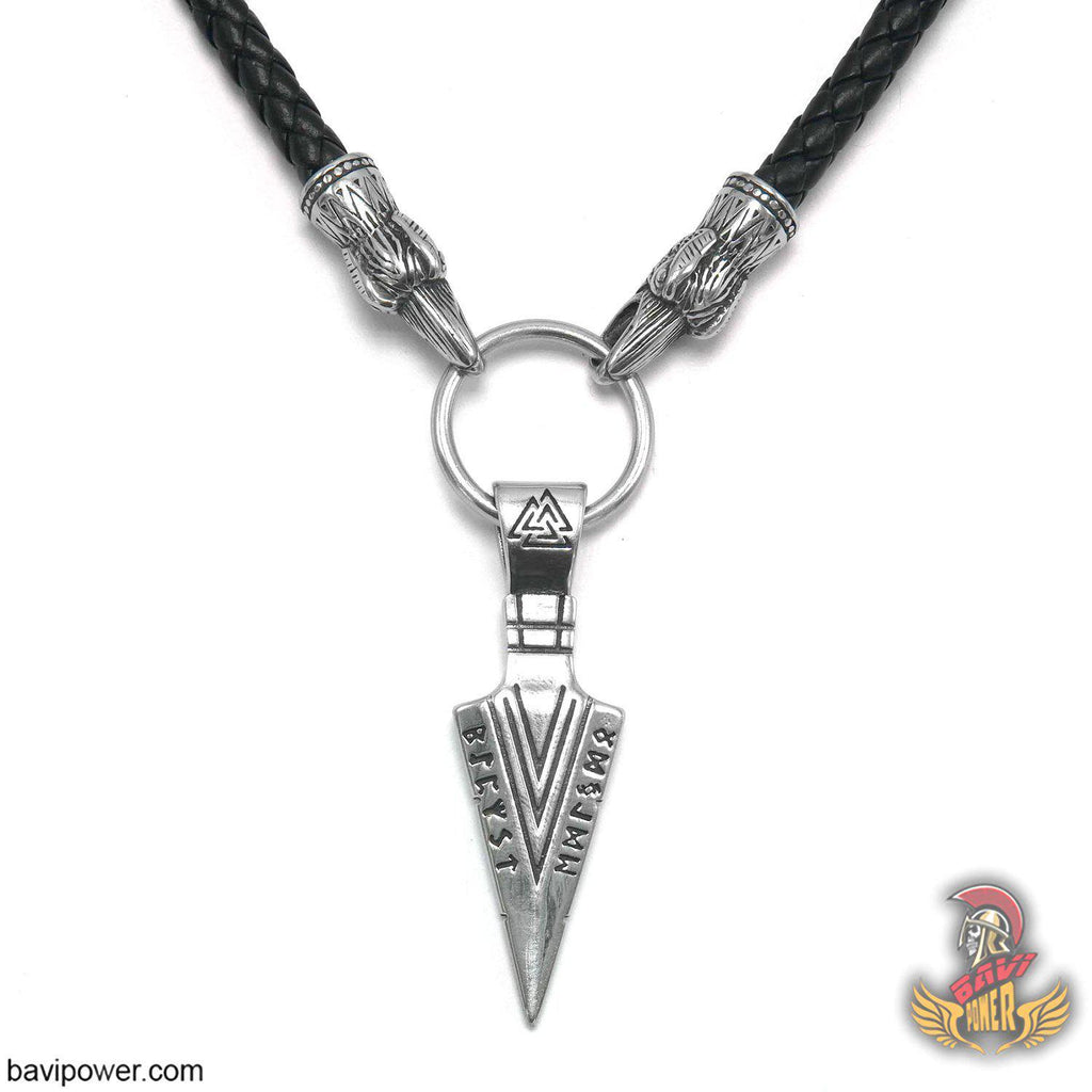 Odin's Gungnir Spear Head Pendant Necklace with Raven Head Leather Chain
