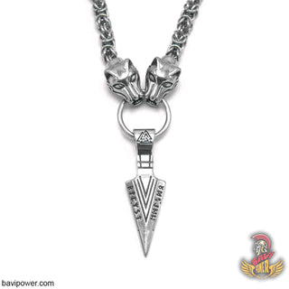 Odin's Gungnir Spear Head Pendant Necklace with Wolf Head King Chain