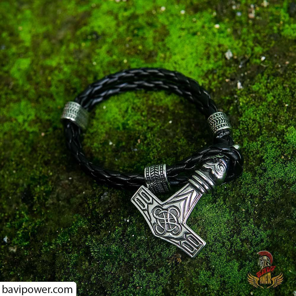 Raven Thor's Hammer Leather Bracelet