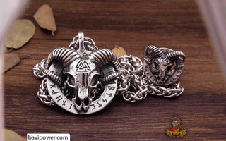 Runic Ram Skull Ring and Necklace Set