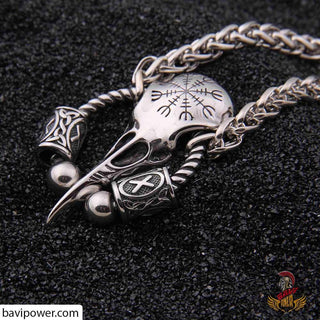 bavipower-viking-jewelry-Runic Raven Skull Pendant Necklace-necklace-BaviPower-50cm-BaViPower