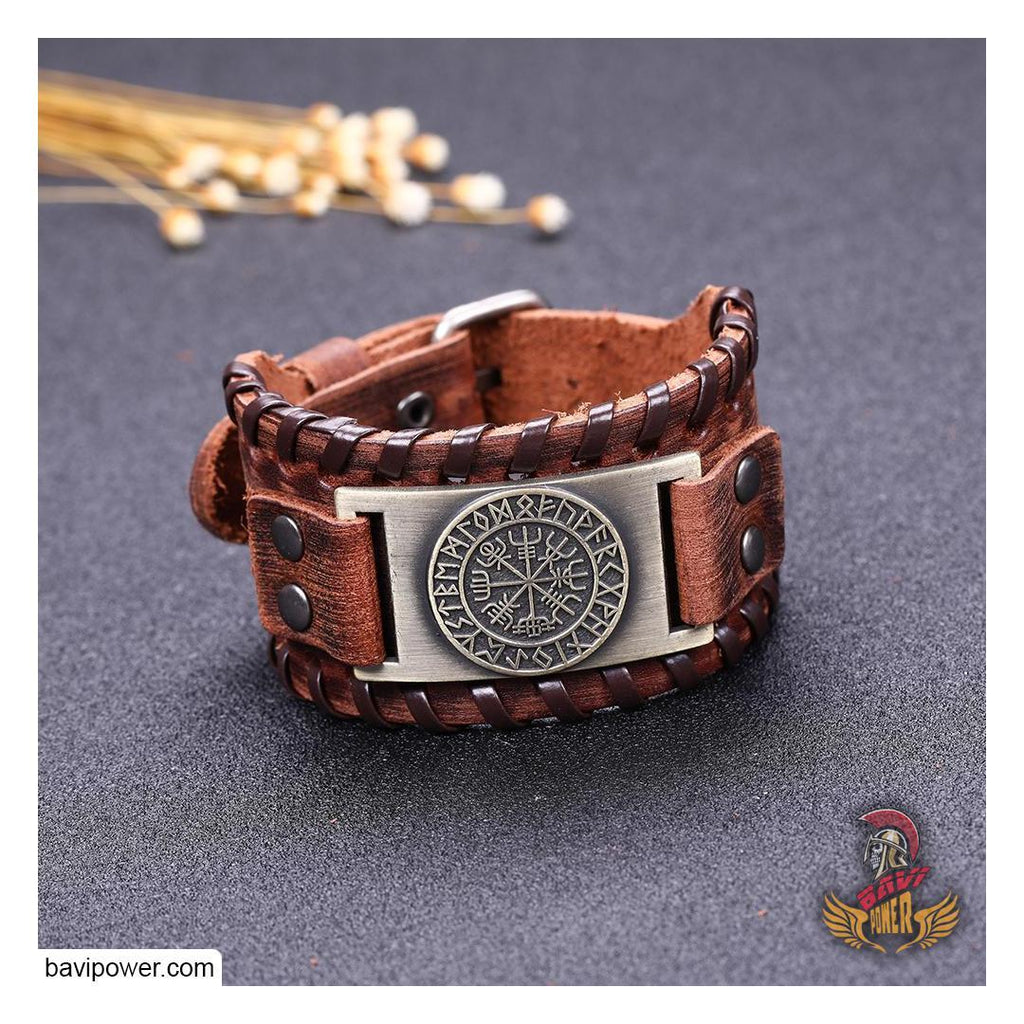 Runic Vegvisir Braided Genuine Leather Bangle Bracelet