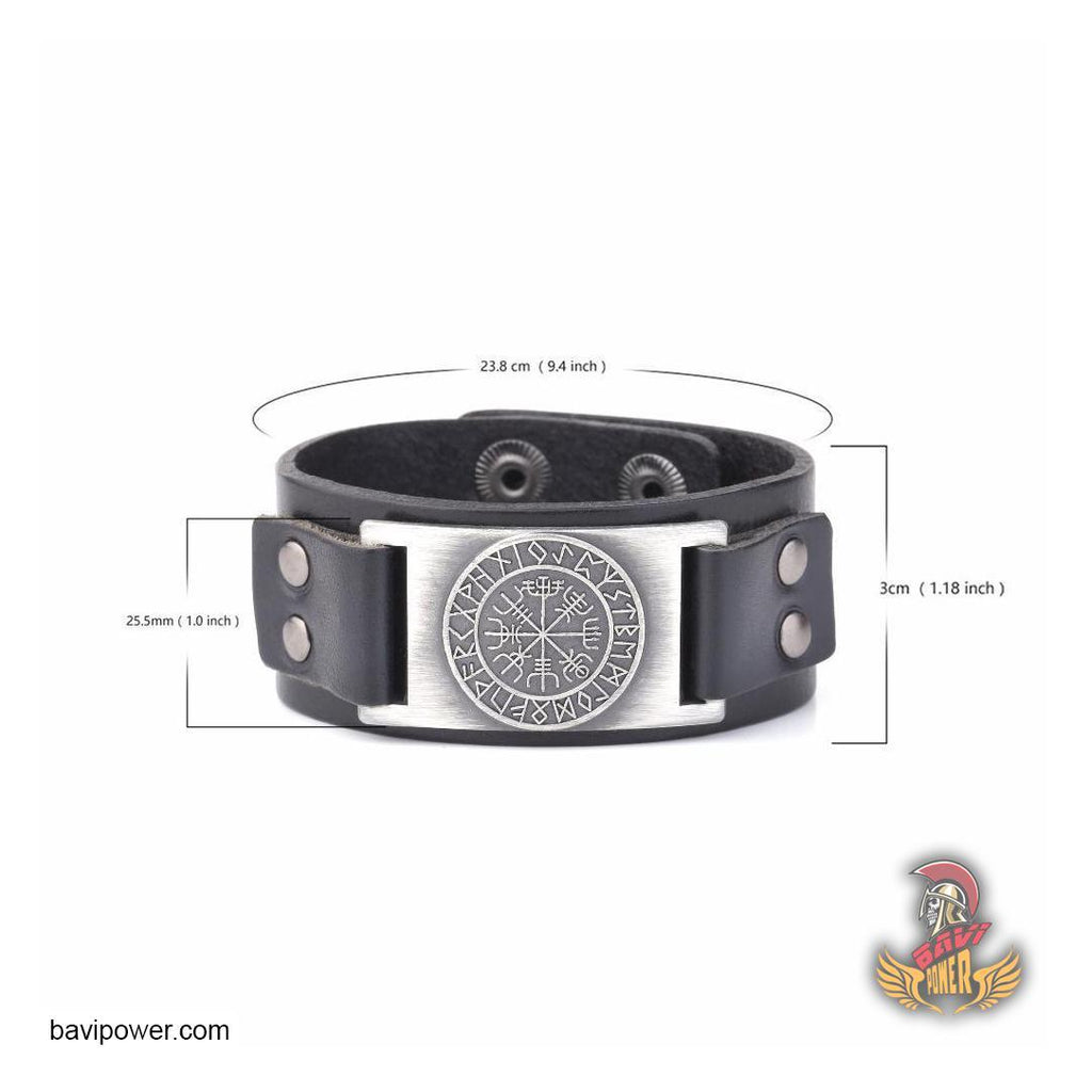 Runic Vegvisir Genuine Leather Bangle Bracelet