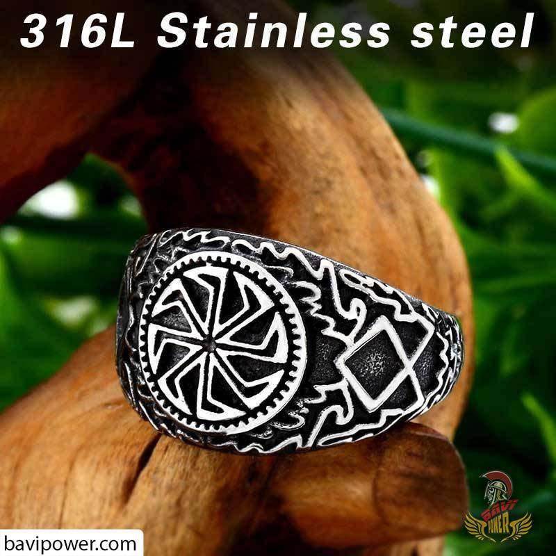 Stainless Steel Black Sun Wheel Ring