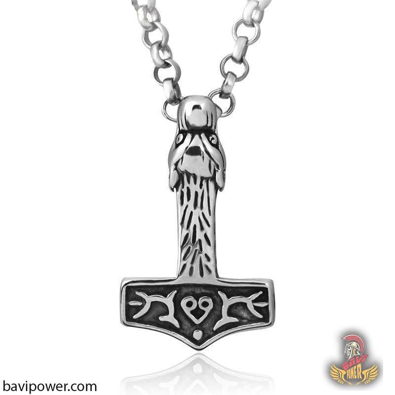 Stainless Steel Fenrir Head Mjolnir Pendant Necklace
