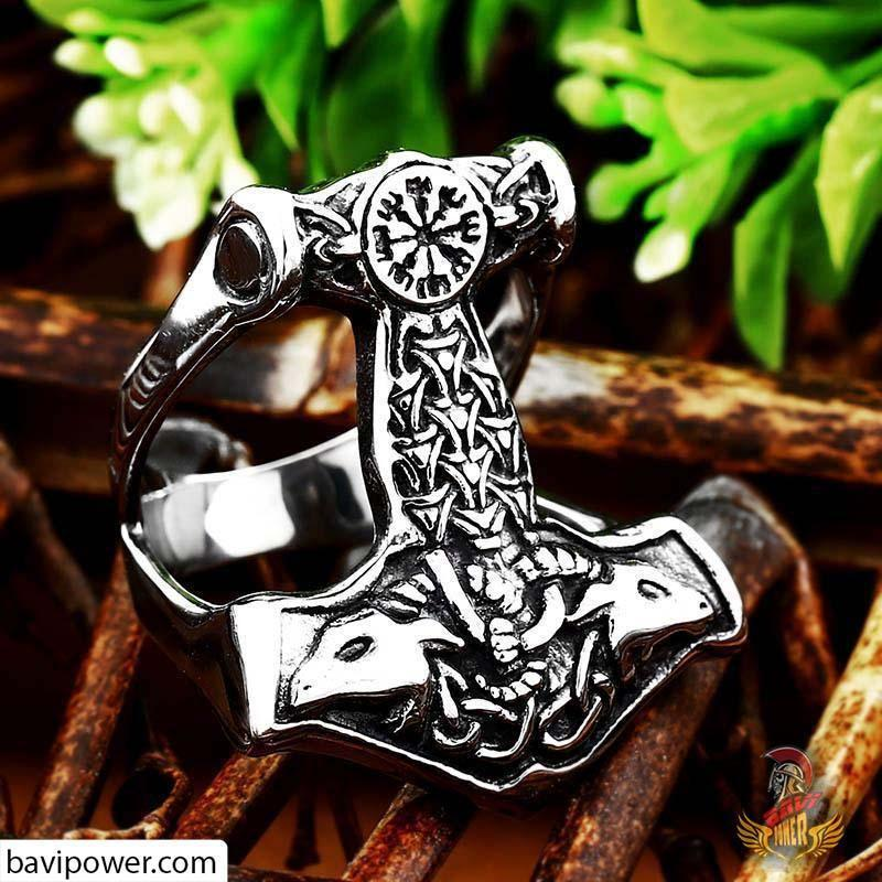 Stainless Steel Goat Head Thor's Hammer Ring