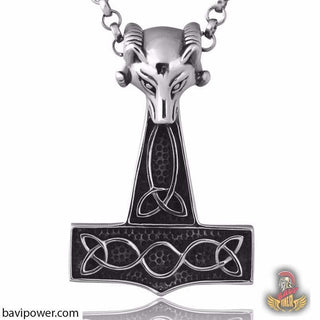 Stainless Steel Ram Head Mjolnir Pendant Necklace