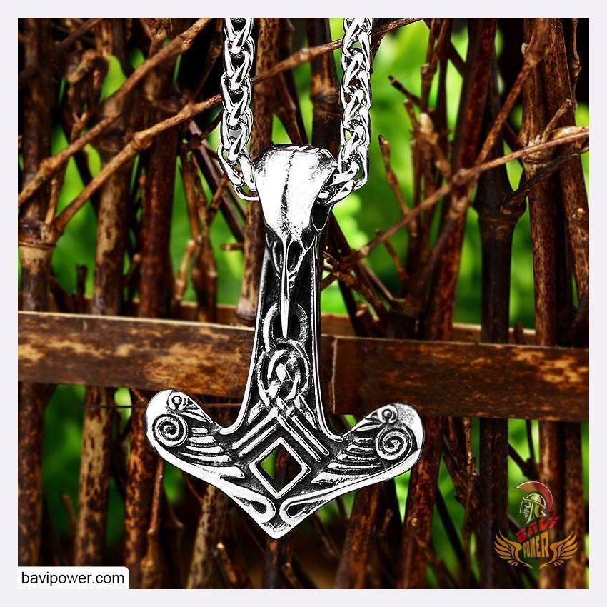 Stainless Steel Raven Hammer Pendant Necklace