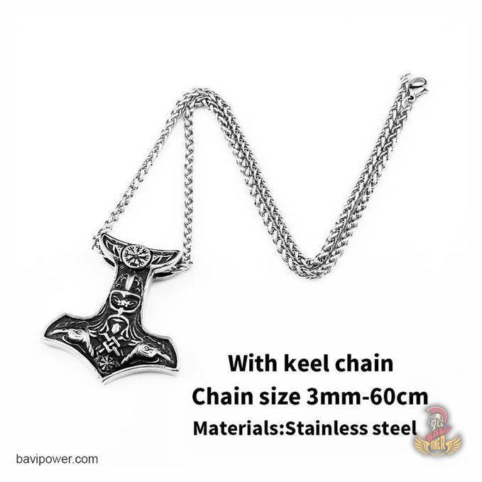 Stainless Steel Raven Mjolnir Hammer Pendant Necklace
