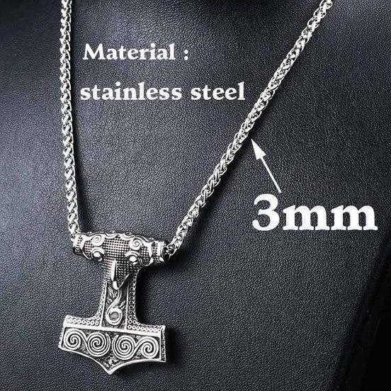 Stainless Steel Raven Mjolnir Pendant Necklace