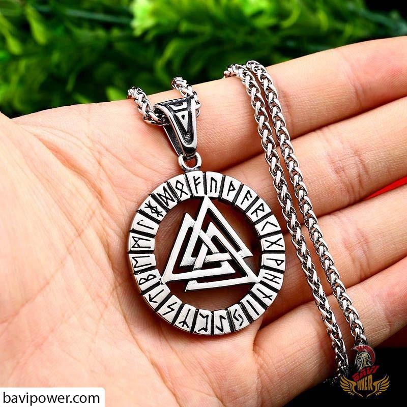 Stainless Steel Runic Valknut Pendant Necklace