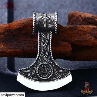 Stainless Steel Triquetra Battle Axe Pendant