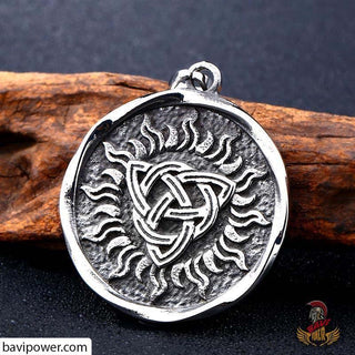 Stainless Steel Triquetra Sun Pendant