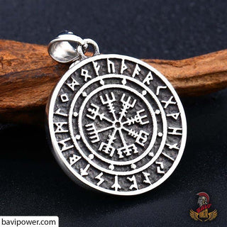 Stainless Steel Vegvisir Compass Pendant