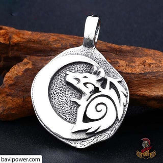 Stainless Steel Wolf Amulet Pendant