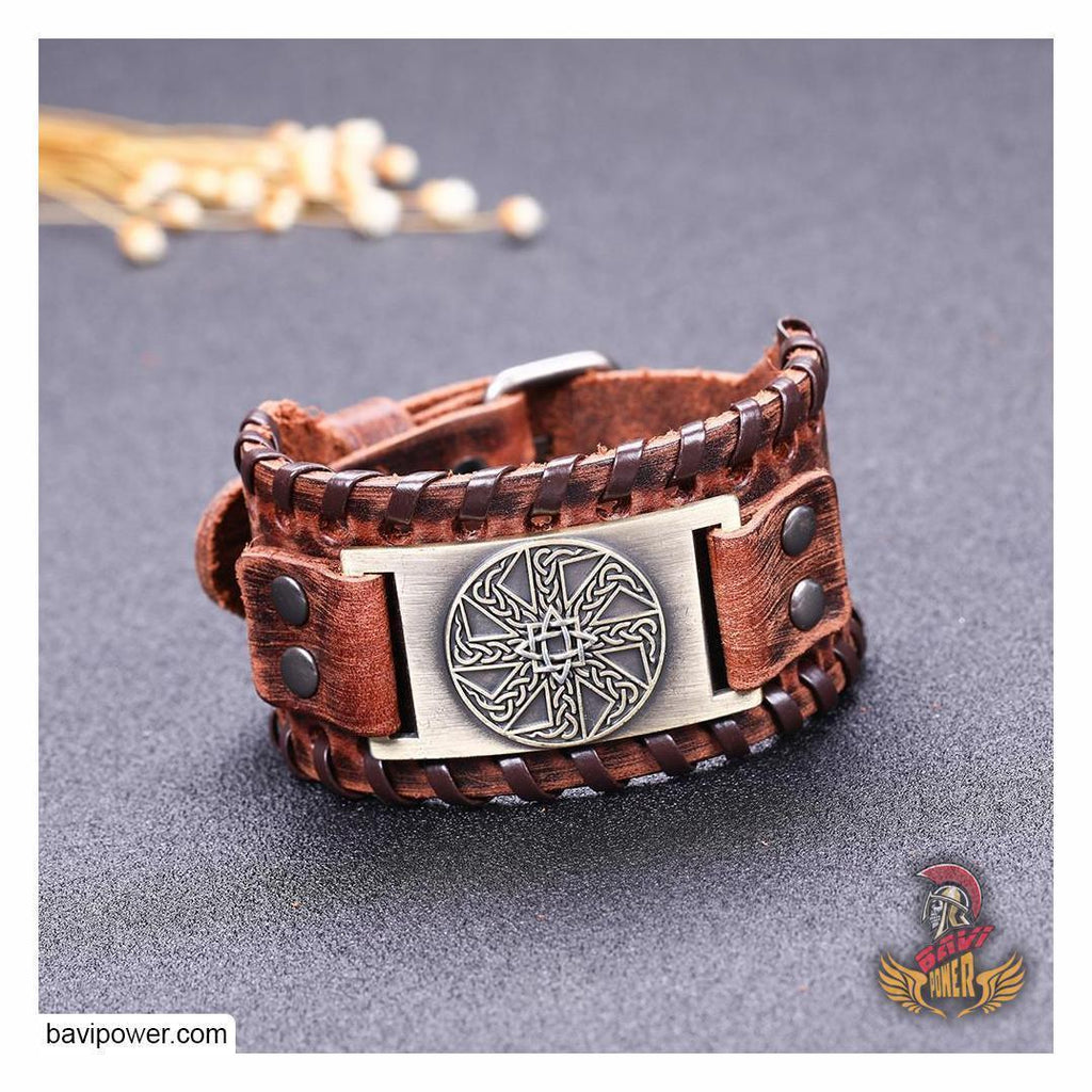 Sun Wheel Braided Genuine Leather Bangle Bracelet
