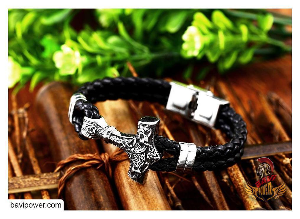 Thor's Hammer Mjolnir Leather Bracelet