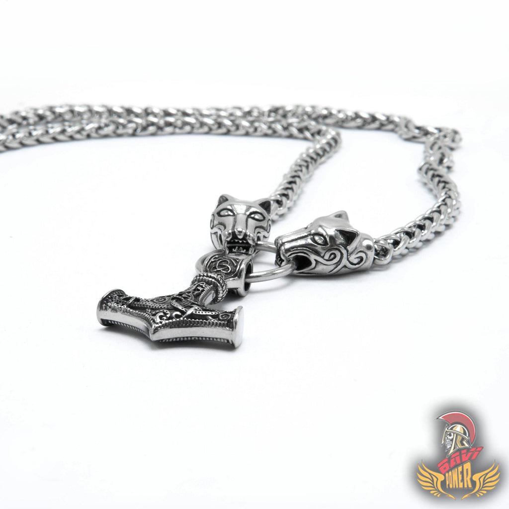 Thor's Hammer Pendant with Big Wolf Chain Necklace