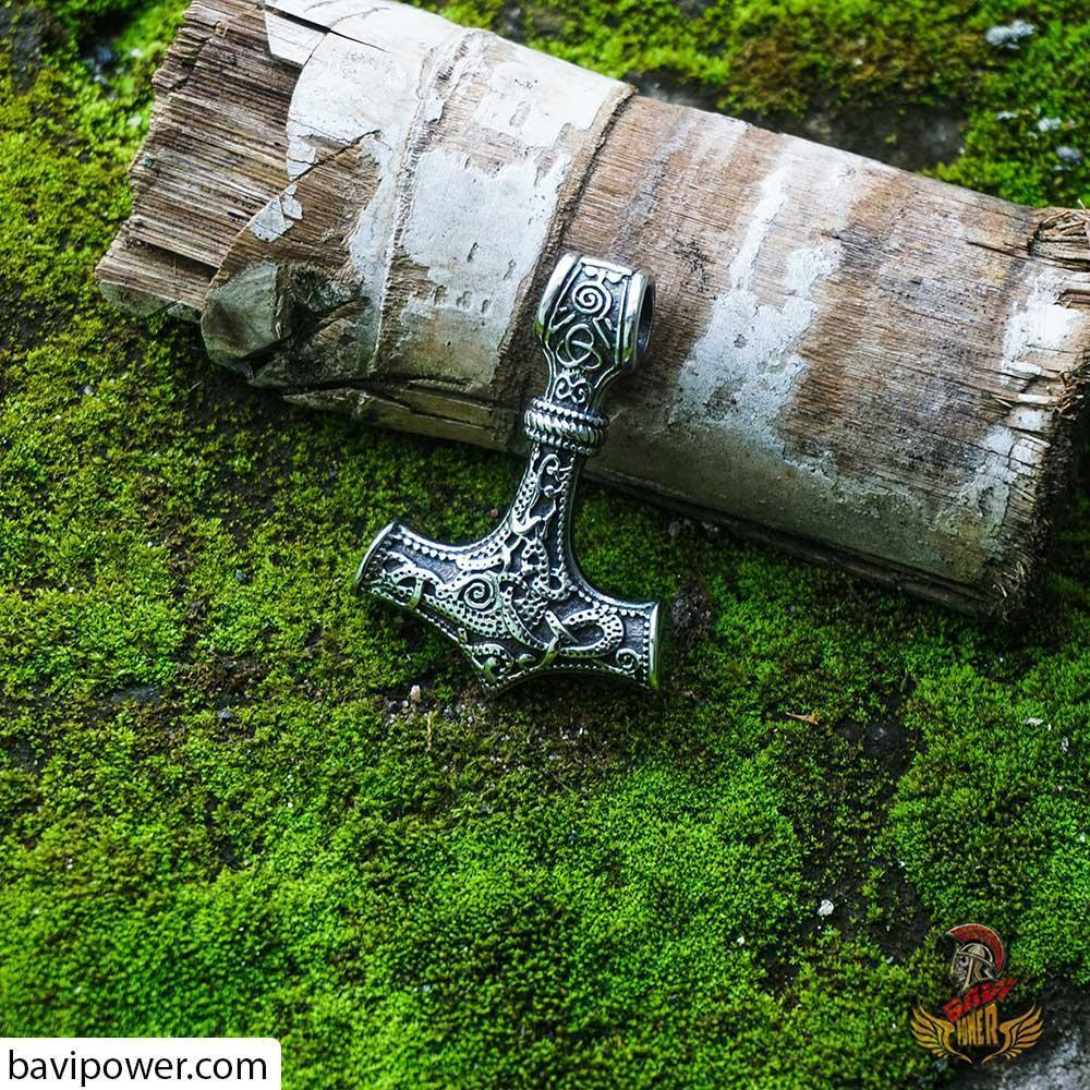 Thor's Hammer Pendant with Handmade King Chain Necklace