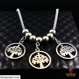 Triple Tree of Life Pendant Long Necklace for Women