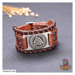 Valknut Braided Genuine Leather Bangle Bracelet