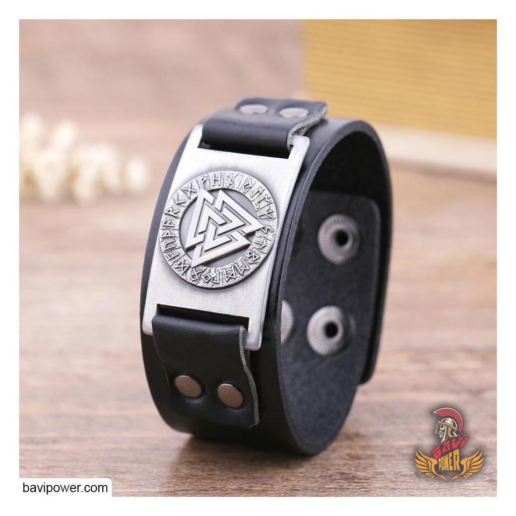 Valknut Genuine Leather Bangle Bracelet