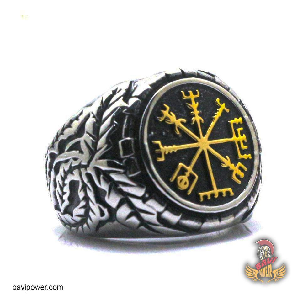 Vegvisir Viking Runic Compass Ring