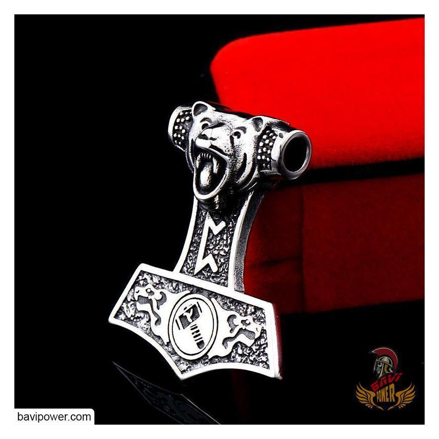 Viking Bear Mjolnir Amulet Pendant Necklace