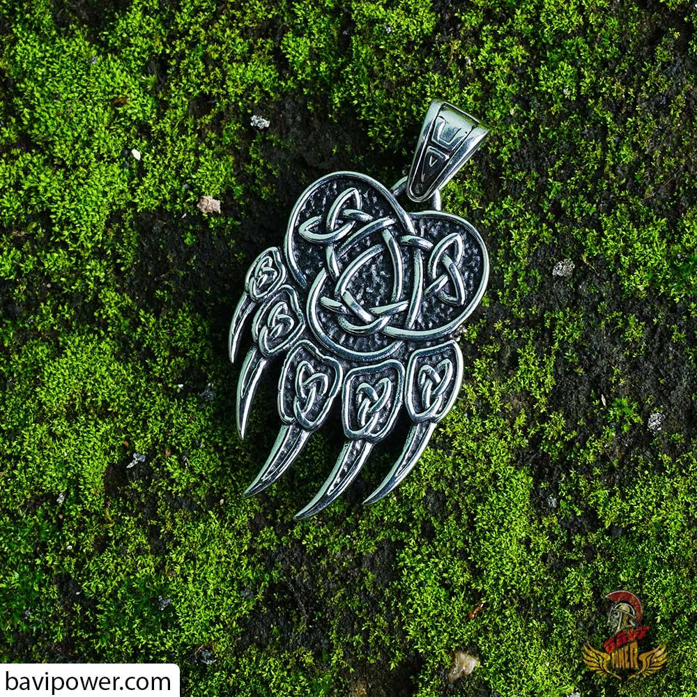 Viking Bear Paw Pendant Necklace